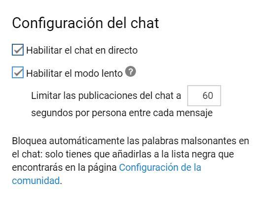 Opciones de configuración del chat de Youtube