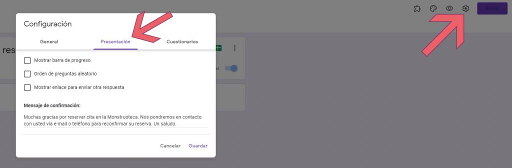 Opción de configurar el mensaje de confirmación en nuestro formulario de reserva de cita