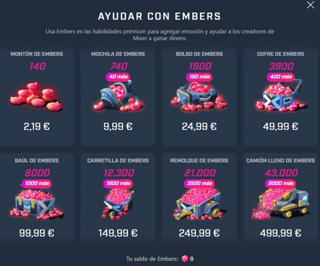 Imagen ilustrativa de la compra y precios de Embers de Mixer
