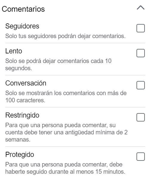 Configuración de restricción de comentarios de Facebook Gaming